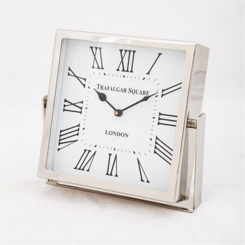 Square Trafalgar Clock with White Dial