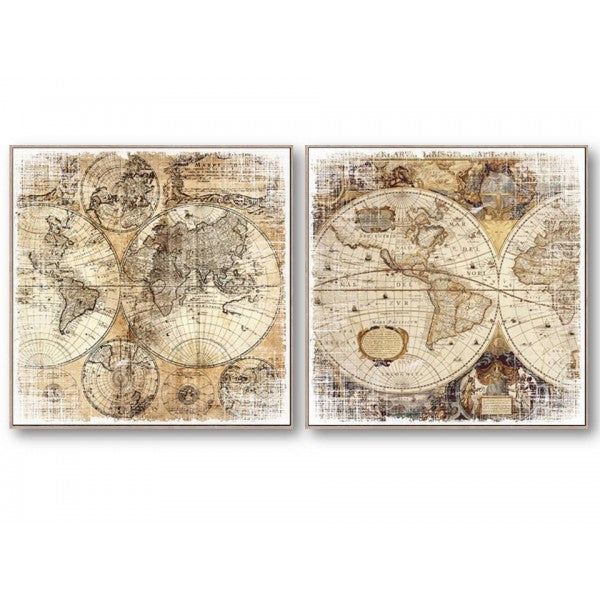World Map Wall Art Set