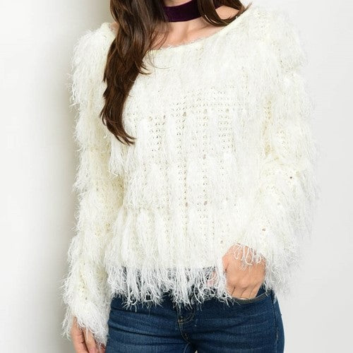 Shaggy Knit Sweater Ivory