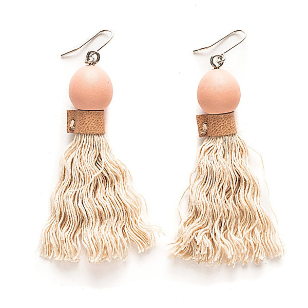 Rare Rabbit Bead, Leather & Tassel Drop Earrings