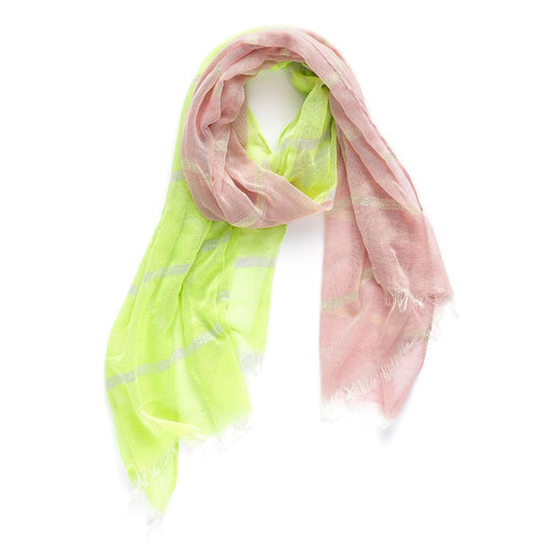 Rare Rabbit Silver Stripes Scarf Green & Pink