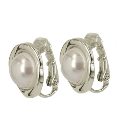 Pearl Centre Swirl Clip On Earrings