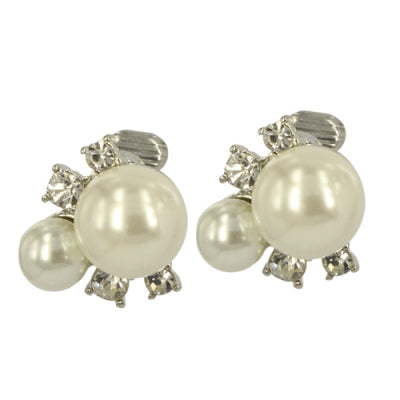 Pearl & Diamante Clip on Earrings