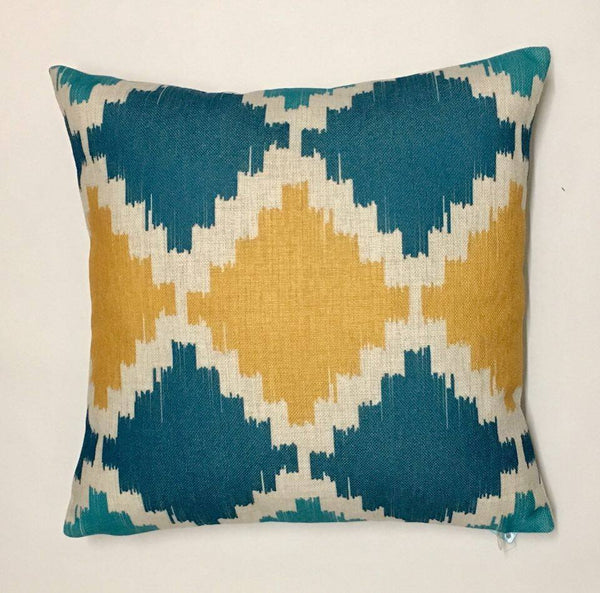 Blue & Yellow Pixel Diamond Cushion 45cm