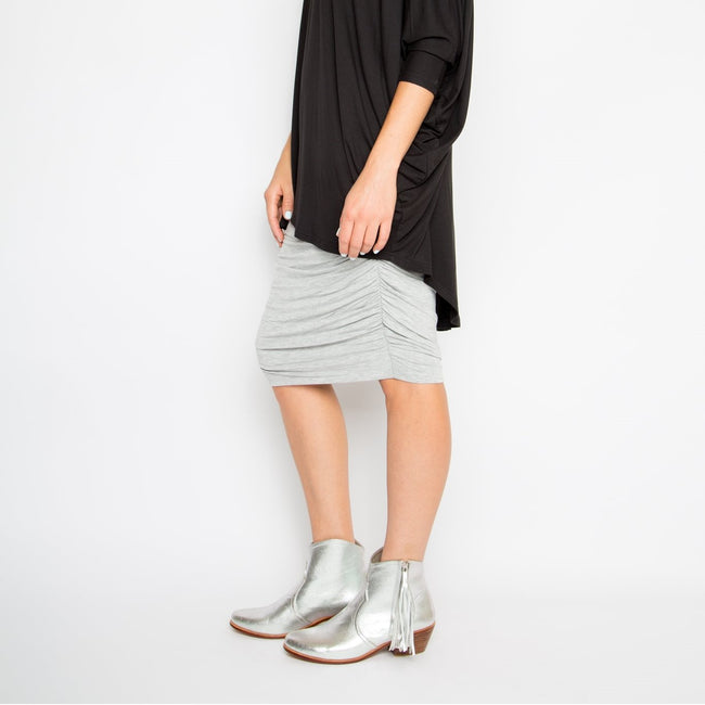 Ruche Skirt Grey (Curve)