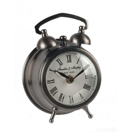 Round Black Nickel Desk Clock