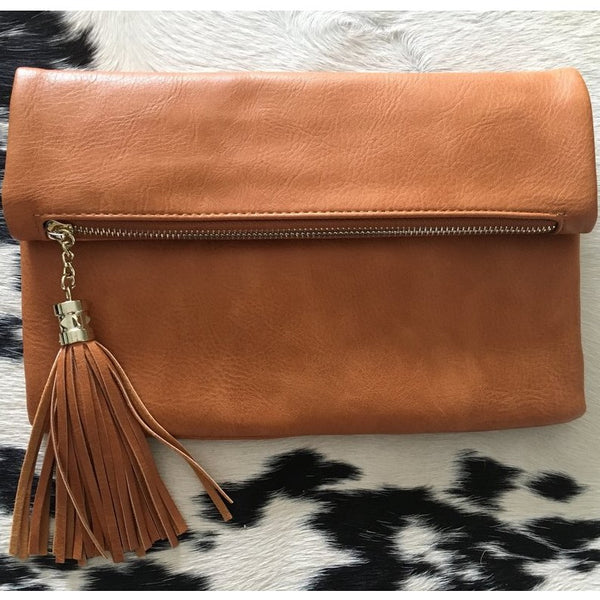 Tan Fold Over Clutch