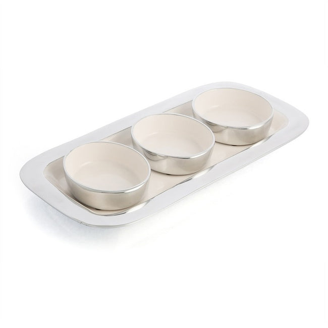 Aluminium & Enamel Condiment Bowl Set on Tray