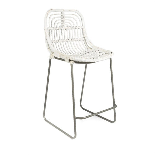 Distressed Buton Rattan Barstool - White