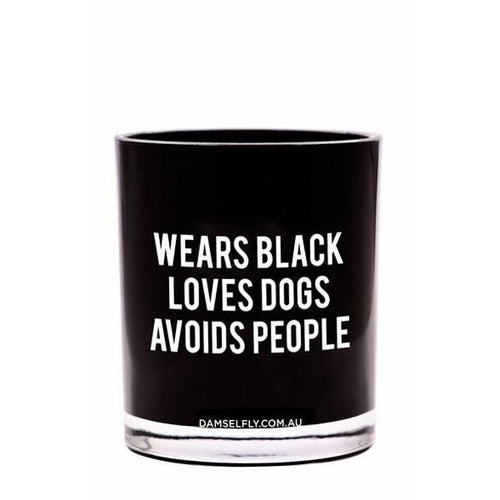 Wears Black, Loves Dogs Candle 300g