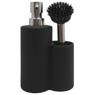 Classic Soft Matte Black Soap Dispenser & Brush