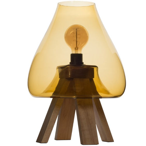 Amber Glass Table Lamp with Wooden Base