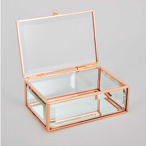 Rose Gold Glass Box 14cm