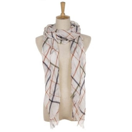 White Check Scarf
