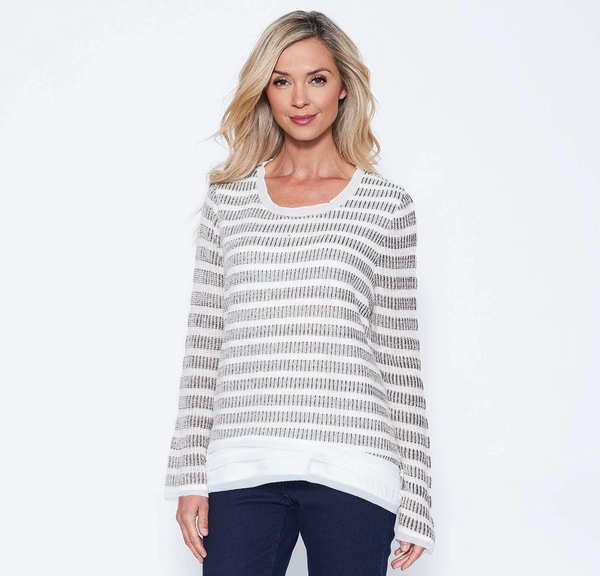 Ivory Stripe Knit Top