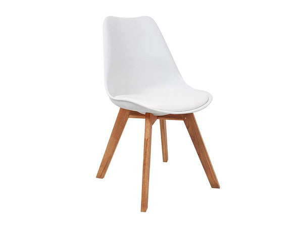 RAY PLASTIC CHAIR, OAK LEGS WHITE