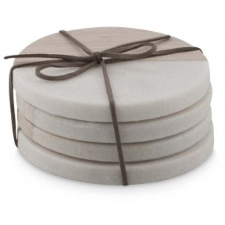 Masaru Set of Round Marble Coasters