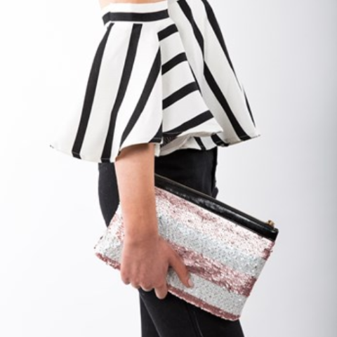 Pink & White Sequin Stripe Clutch