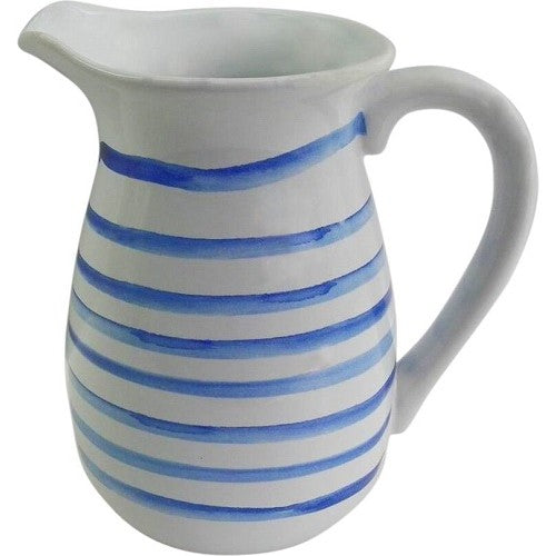 Blue Stroke Etch Ceramic Jug