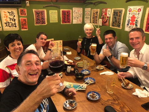 Bryan, Toni, Jo and other couple of friends in Japan