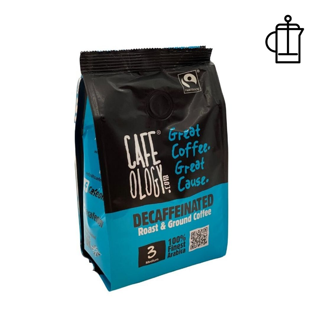 An image of Cafeology Fairtrade Decaffeinated Ground Coffee 227g