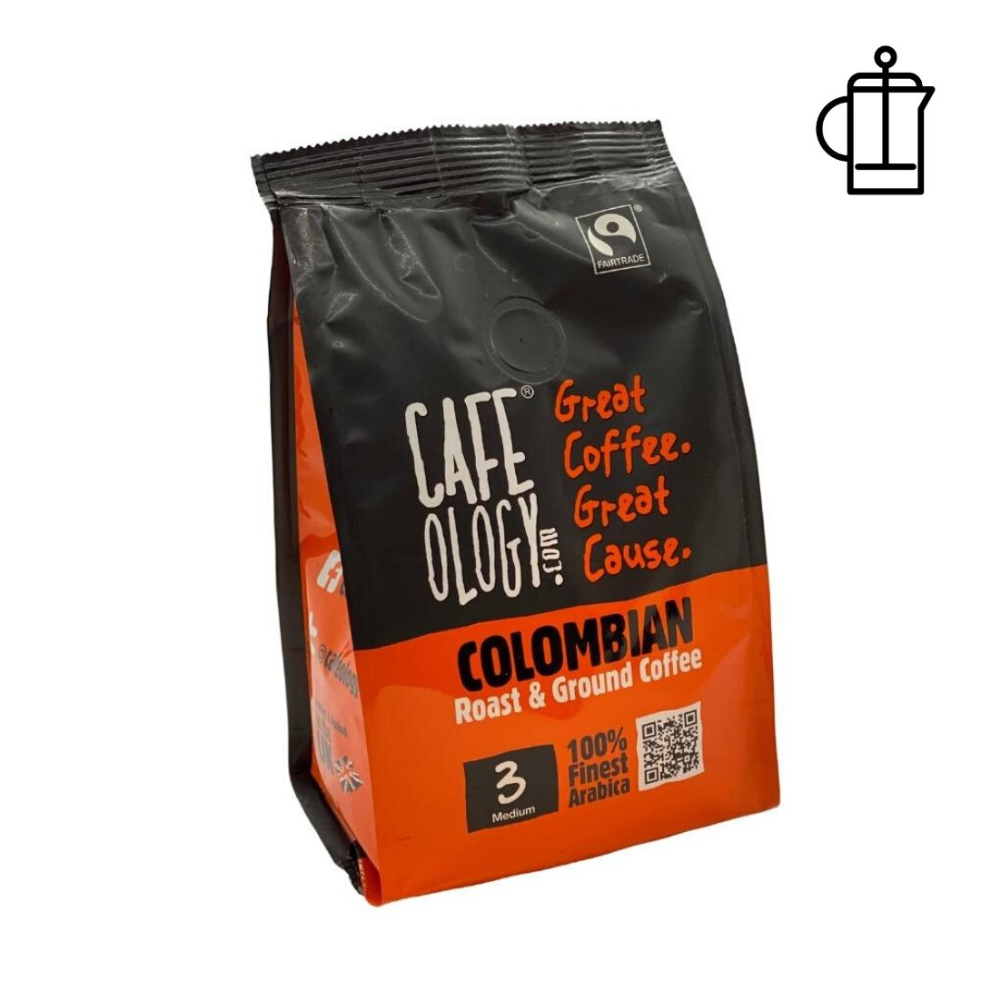 An image of Cafeology Fairtrade Colombian Ground Coffee 227g