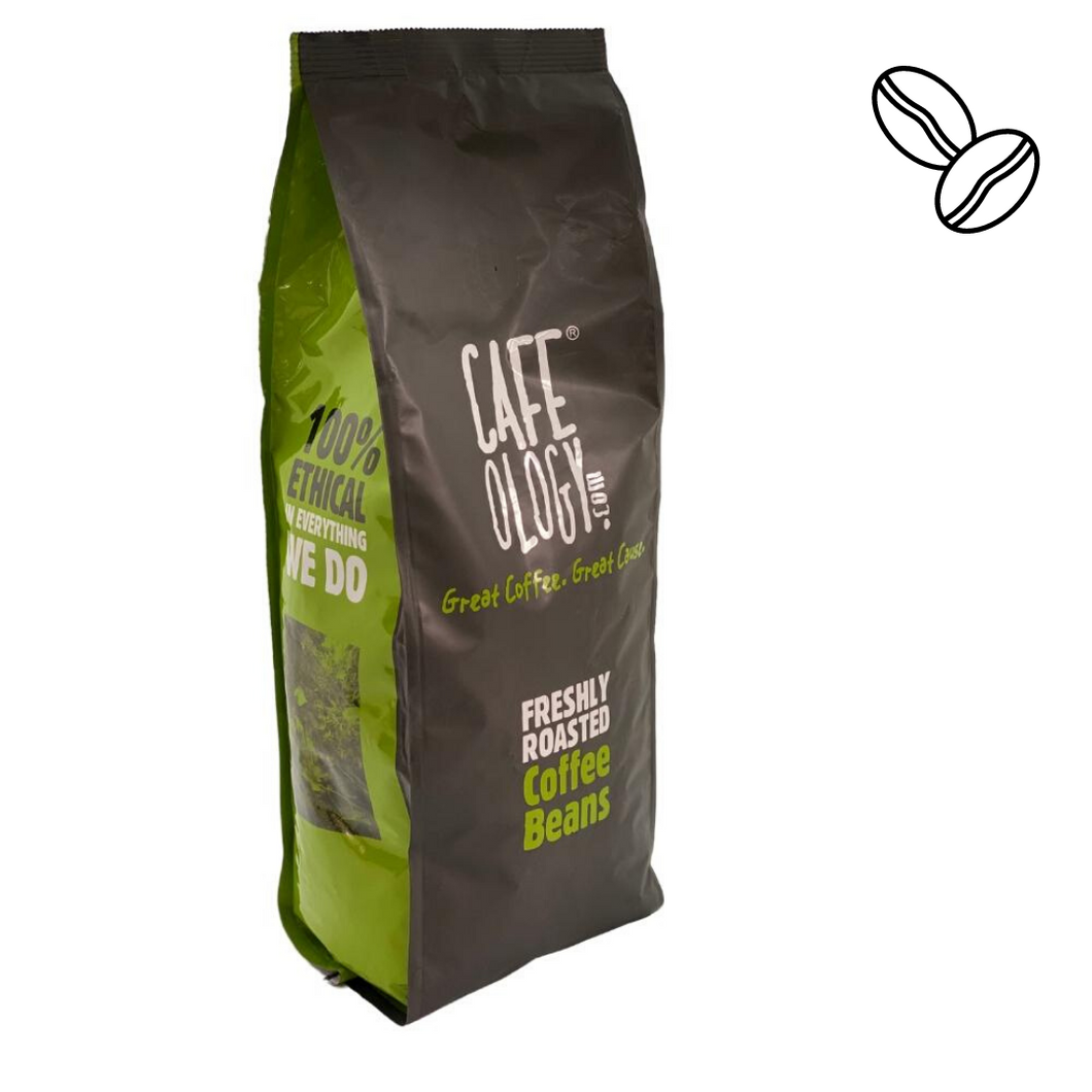 Cafeology Triple Certified Coffee Beans x 1kg Organic, Fairtrade & Rainforest Alliance