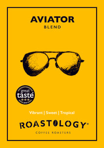 Roastology Award Winning Aviator Coffee Card Logo - Vibrant, Sweet, Tropical