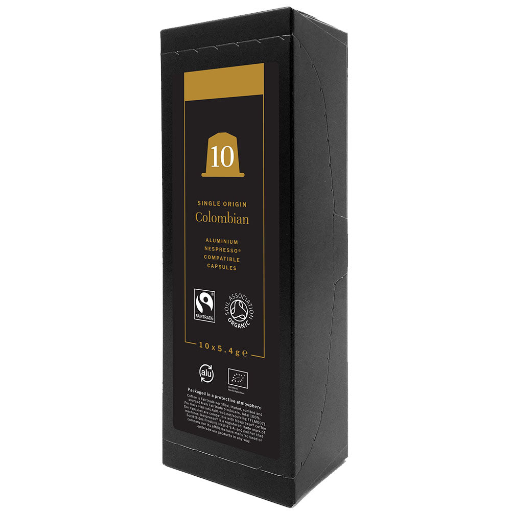 An image of Colombian Fairtrade Organic Nespresso Compatible Capsules 10 x 5.4g