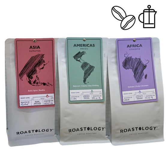 Roastology Luxury Triple Pack Coffees - Asia America & Africa