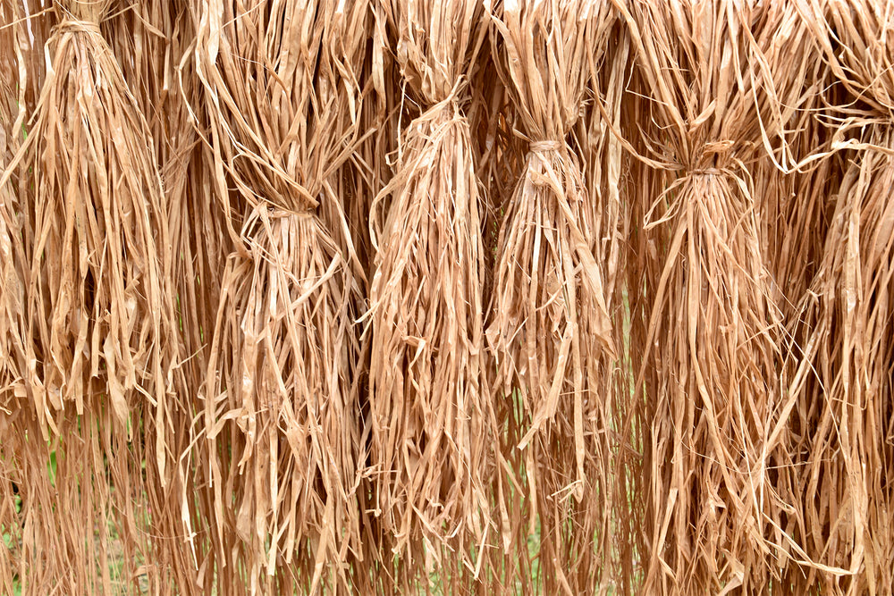 Raffia dyed with tea