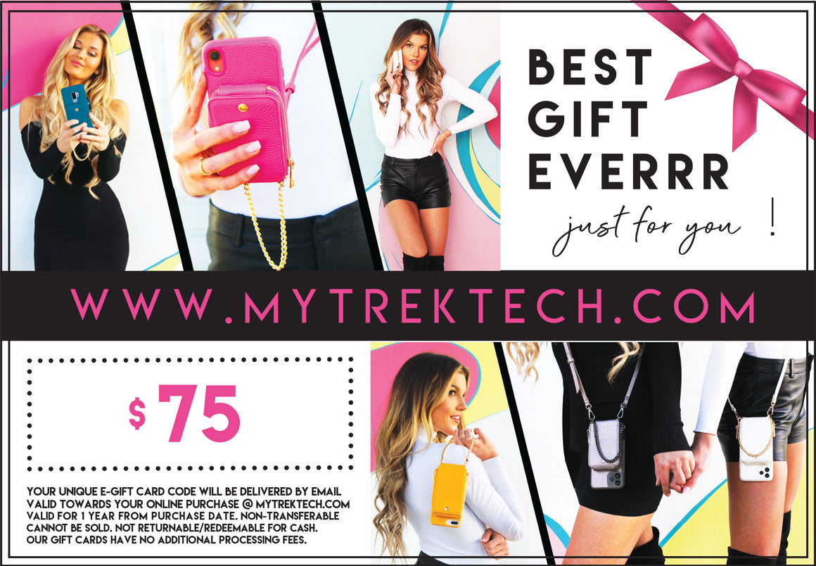$75 TREK E-Gift Card - TREK™ | Cross-body Phone Case Purses