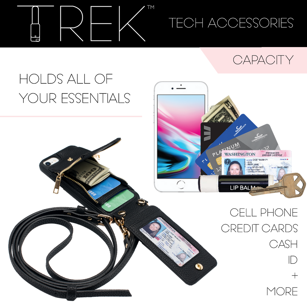 Black Crossbody TREK for Galaxy S9+ - TREK™ | Cross-body Phone Case Purses