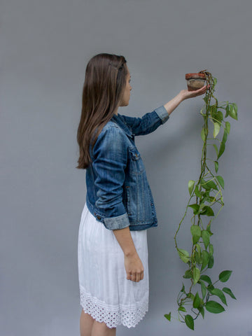 woman with house plant