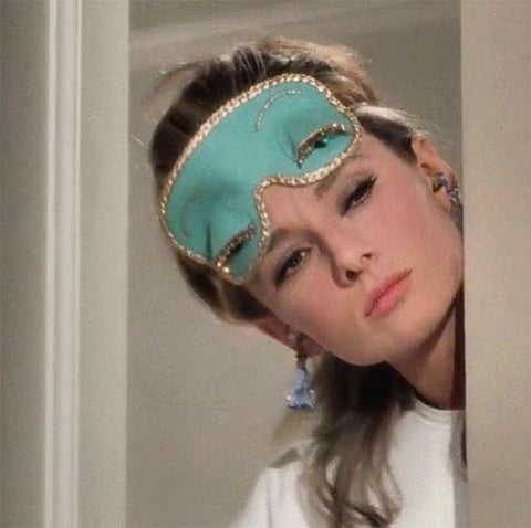 audrey hepburn with face mask in breakfast at tiffany's