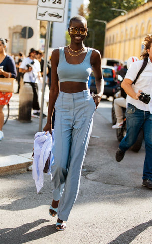 blue trousers street style