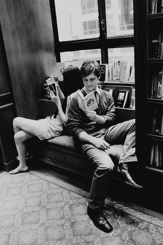 couple reading at a bookstore