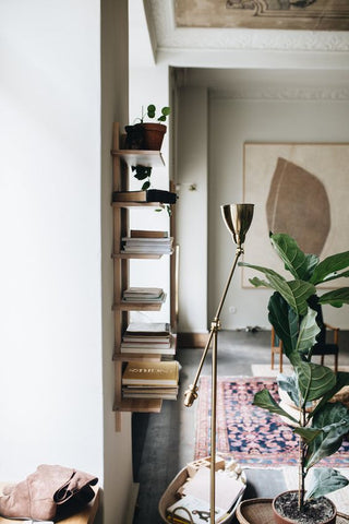 floating shelves on the wall