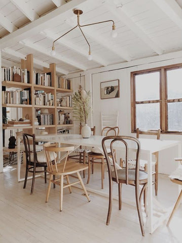 mix matched dining table chairs