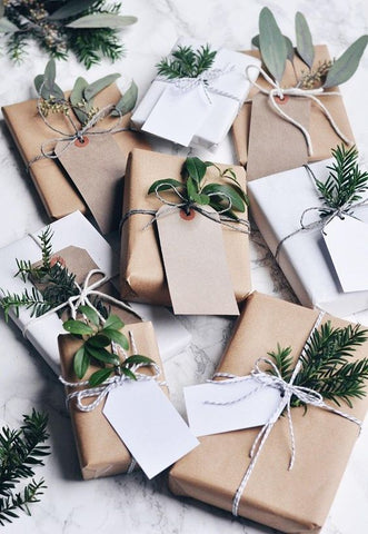gift wrap for christmas with leaves and flowers
