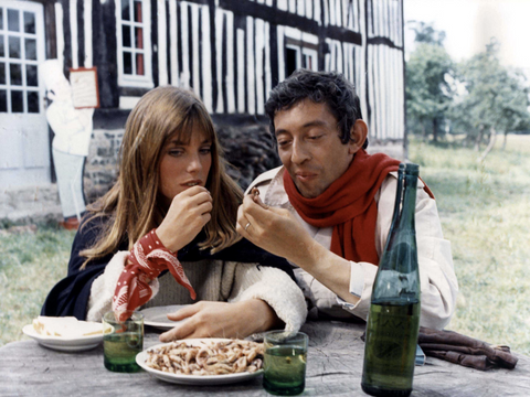 jane birkin with red bandana scarf
