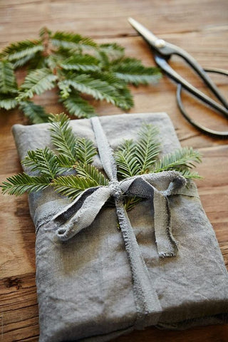 linen wrapped presents