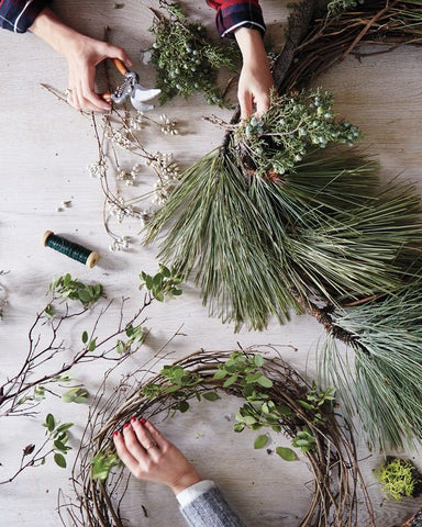 making holiday wreath