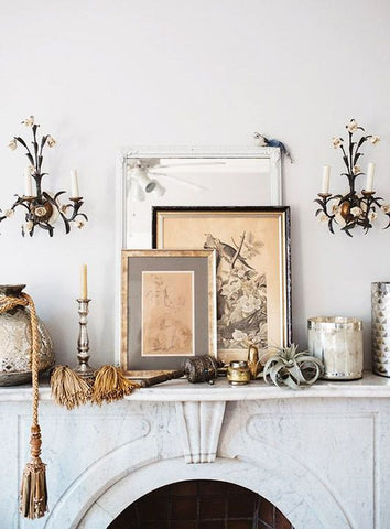 mantel with neutral collection