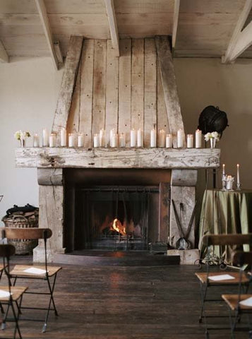 mantel with pillar candles