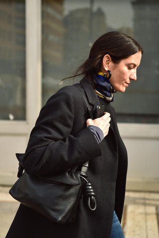 navy and yellow scarf with black coat