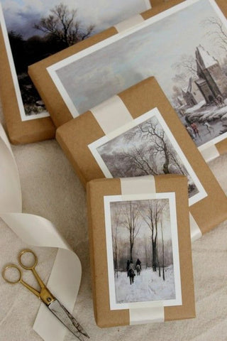 black and white photos on brown gift wrap paper