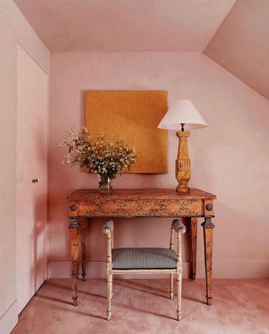 pink desk and wall
