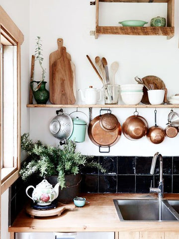 vintage copper in kitchen