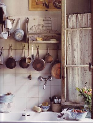 vintage copper in white kitchen